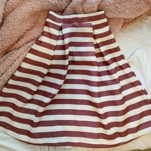 Classy & sassy pink and white striped midi skirt